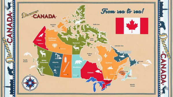 Harpers wineberry fabrics discover canada fabric map panel gumiabroncs Image collections